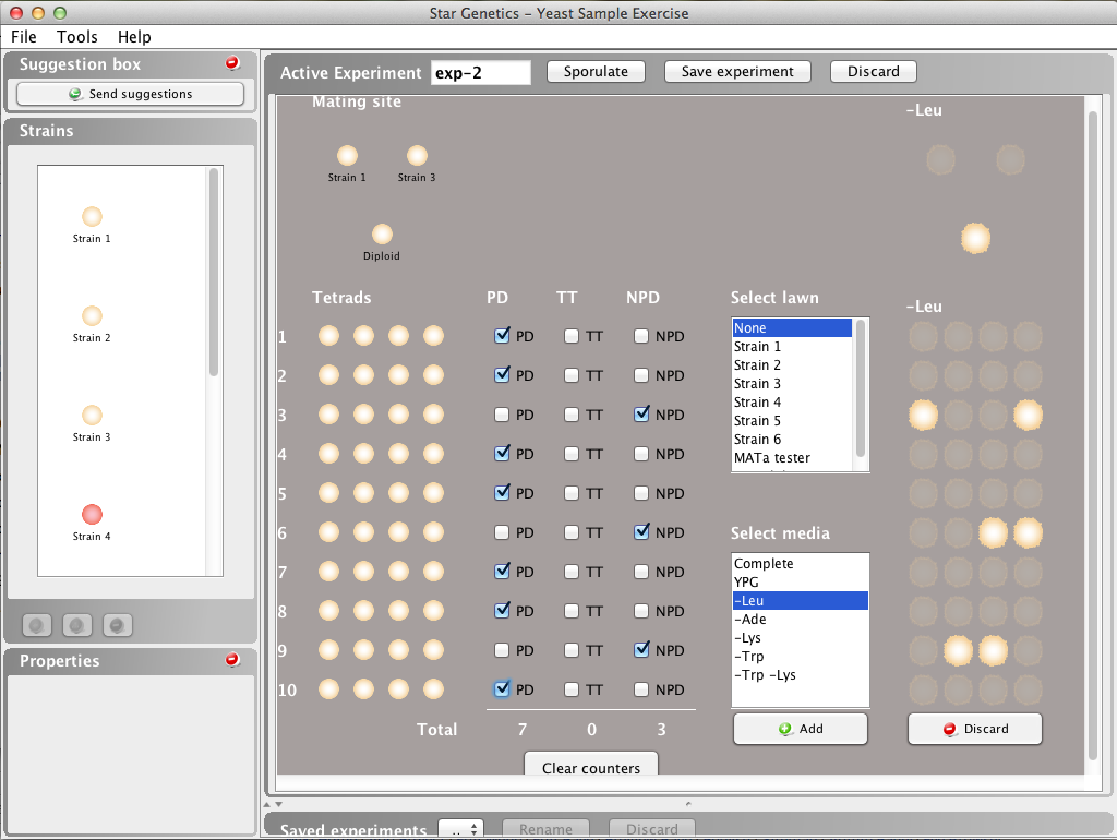 StarGenetics Yeast User Interface showing an experiment involving yeast tetrads
