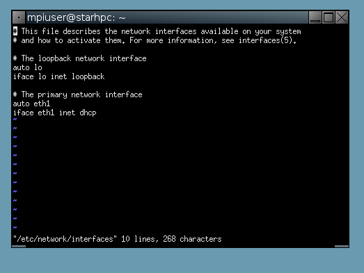 interface file in terminal