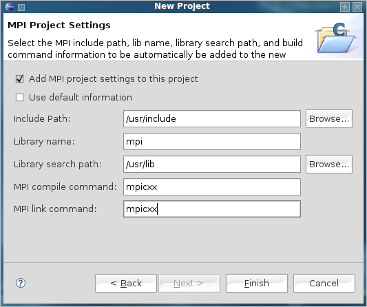 MPI Project Settings