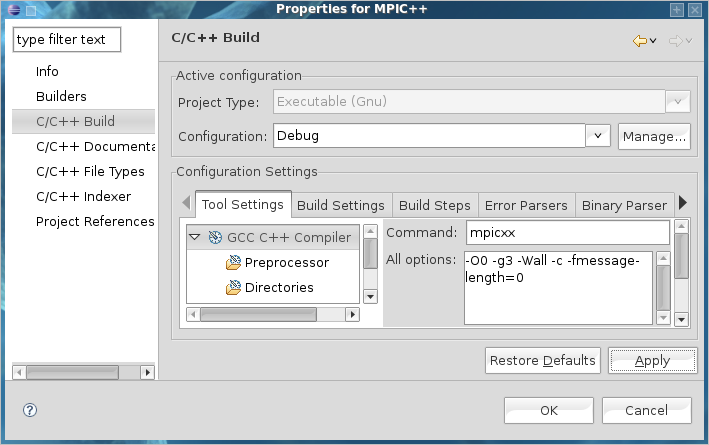 Properties for MPIC++