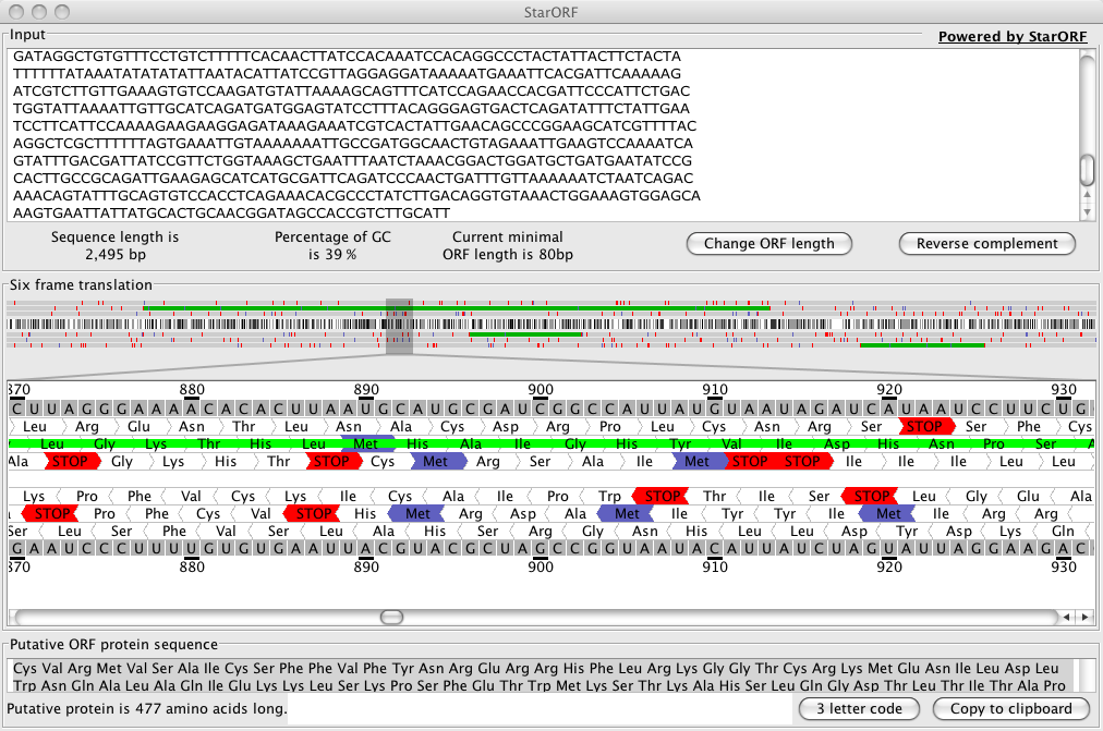 StarORF screenshot with DNA sequence